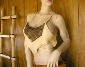 Chainmail and Cream leather halter top, deerskin leather with beaded bronze chainmail, crisscross ties in back, one size fits most