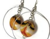 Blown glass earrings, silver hoops, dangle earrings, earrings, glass bead earrings, glass beads, dangle earrings, infinity, circle