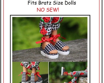 Ankle Strap Sandals No Sew Doll Shoes Pattern PDF Pictorial Tutorial