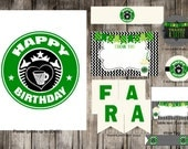 Instant Download Starbucks Birthday Party Pack, Coffee Lover, Coffee Birthday, Frappe Birthday Party Pack - Print Your Own