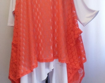 Coco and Juan, Plus Size Top, Lagenlook, Layering, Women's Tunic Top, Tangerine, Plus Size Tunic, Lace Size 1 Fits 1X,2X  Bust to 50 inches
