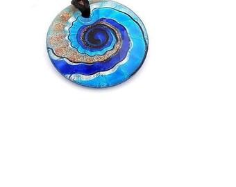 Lamp Work  Murano Glass  Pendant ,  50MM Blue Lampwork  Glass  Pendant