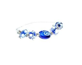 Blue Lampwork Bead Mix - 5 Pcs