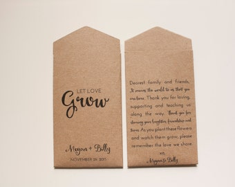 50+ Kraft Let Love Grow Custom Seed Packet Wedding Favors - Rustic Seed Wedding Favor for Guests - Personalized Favor -Many Colors Available