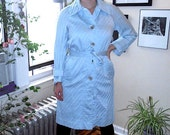 CLEARANCE Vintage 1970s Light Blue American Hustle Spring Disco Era Trench Coat Rain Jacket by Count Romi M/L