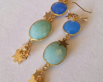 One of a kind! Stunning star spangled blue chalcedony & amazonite bezel set dangle earrings. Gold stars. Evening. Unique. Gemstone