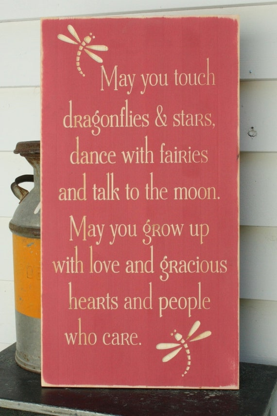 May You Touch Dragonflies Girl Bedroom Wood Sign Nursery Decor