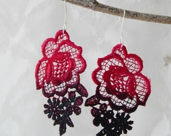 Hot Pink and Black Ombre Lace Earrings with Silver Hooks