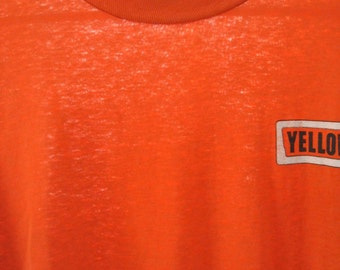 Distressed Vintage Tshirt Tee near Burnout Thin Yellow Bus Orange LARGE