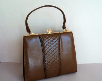 Vintage 1960's Handbag // Caramel Brown PARAGON Handbag // Kelly Handbag