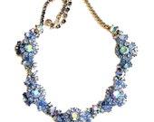 Trifari Spectacular Blue Aurora Borealis Rhinestone Necklace