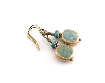 Genuine Turquoise Earrings - Wire Wrapped - Antique Gold Earwires - Wire Earrings - Small Earrings - Turquoise Earrings - Gold Earrings