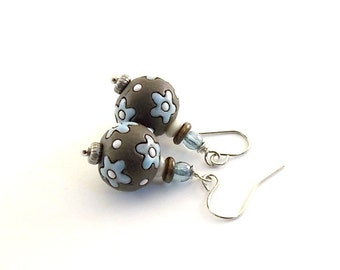 Blue Daisy Earrings - Chocolate Brown Earrings - Golem Studio Earrings - Small Earrings - Brown and Blue Earrings - Silver Earrings - E017
