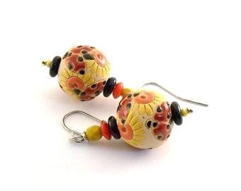 Ladybugs and Flowers Earrings - Golem Studio Earrings - Red Orange Black and Yellow Earrings -Silver Earrings -Wire Earrings -Small - E009