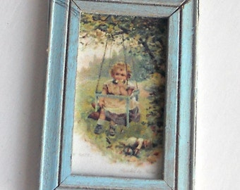 1/12 Scale Shabby Chic Framed Picture Swinging Under The Tree