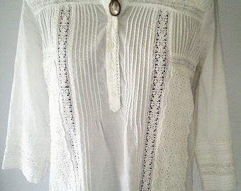 bohemian top, white lace top, white lace blouse, boho clothing, boho top, feminine top, victorian blouse
