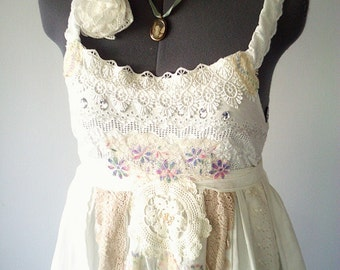 boho dress, white lace dress, white applique dress, bohemian clothing, gypsy dress, vintage lace
