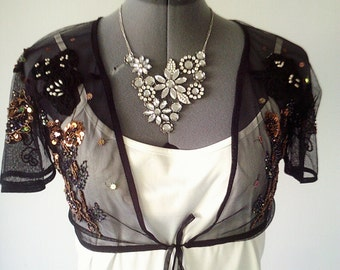 Altered couture, upcycled jacket, evening jacket, beaded jacket, OOAK designer jacket, black net top