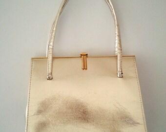 gold vintage bag, gold 50s bag, gold vintage purse, gold handbag, vintage handbag, vintage purse,