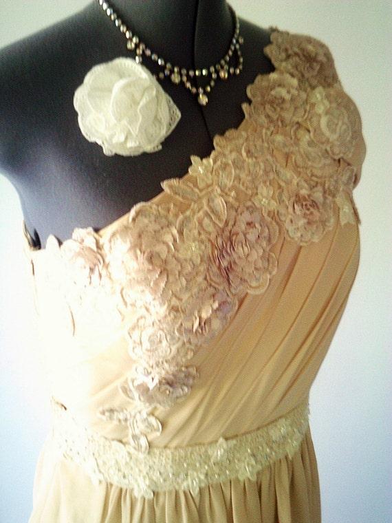 Strand Brautkleid, rustikale Hochzeitskleid, eine Schulter ...