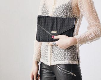 SALE...70s 80s Jane Shilton envelope bag. black fabric clutch. envelope clutch