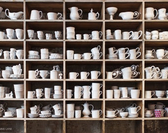 Paris  Photography - Astier de Villatte, Handmade Pottery, Paris Art Print, Neutral Decor, Kitchen Decor, French Home Decor, Large Wall Art
