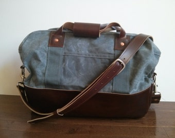 Martexin Waxed Canvas and Horween Leather Carryall Bag with Adjustable Shoulder Strap - Shipping in the US Included