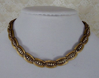 Signed TRIFARI,  Vintage Gold Collar Choker Necklace with Clear Rhinestones, Retro Estate Jewelry, Excellent Condition, Wedding Jewelry