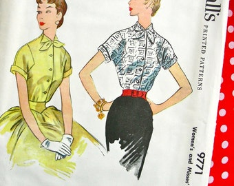 UNCUT * 1950s  McCalls  Pattern 9771   -  Misses' Dart Fitted Pretty Blouse     //  Bust 34 * Size 16