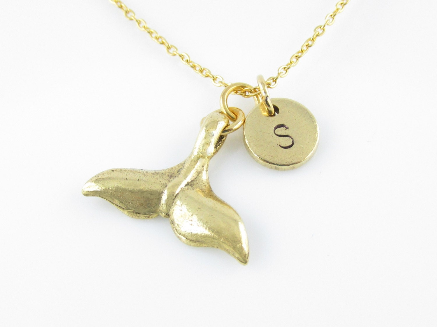 Mermaid Tail Necklace Gold Mermaid Tail Charm Whale Tail