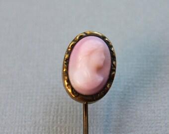 Antique Pink Cameo Stick Pin