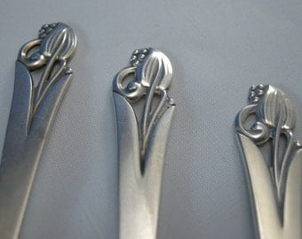 Frank Smith Sterling Seafood Cocktail Forks(3) Woodlily Pattern 1945, Sterling Silver by Frank Smith, Mid Century Silver **U S A ONLY**