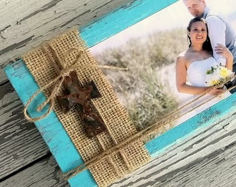 Rustic Wood Picture Display, Wood Photo Block, Rustic Cross, Religious, Wedding Table Centerpiece, Shabby Burlap Decor, Burlap Custom Color