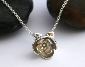 Sterling Silver Lotus Pendant Necklace , Solid silver 3D Lotus flower Charm on chain , Waterlily Silver Necklace , Spiritual Flower Jewelry