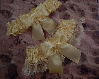 All Pale Yellow Satin Yellow Lace Wedding Bridal Garter Toss Set