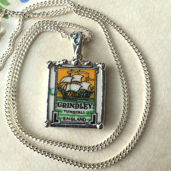 Broken china jewelry pendant necklace antique unique sailing clipper ship Grindley china backstamp