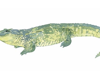 Alligator print, watercolor painting