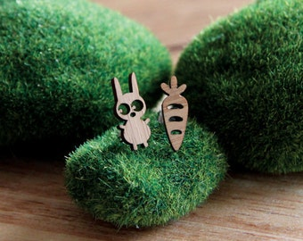 Bunny & Carrot Bamboo Earring Studs, Mismatched Earrings, Quirky jewellery, Rabbit and carrot earrings