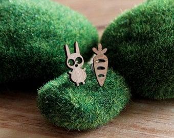 Bunny & Carrot Bamboo Studs