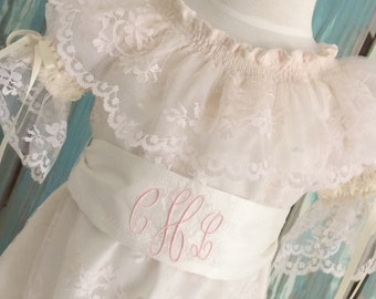Blush Lace Overlay Vintage Inspired Sister Girl Special Occasion Flower Girl Dress with Monogrammed Sash