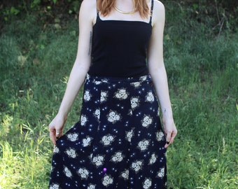 MAGDALENA  - 90s Rayon Maxi Skirt Navy Floral Side Button Retro Grunge Soft Swirl A Line Melrose Options Sm Med