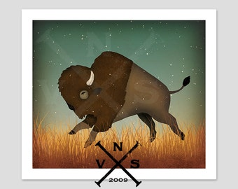 BISON Buffalo Baby  Nursery Graphic Art Illustration Giclee Print Signed
