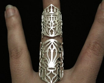 Sterling Silver Full Finger Ring - Medieval Shield Armor Gothic Fleur de Lis & Crown - SCUTUM REX