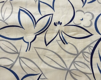 1950's Vintage Tropical Hibiscus Print//Cobalt and Midnight Blue w/Silver Leaves// Pima Cotton//Sold by the Yd 4.22 yds available