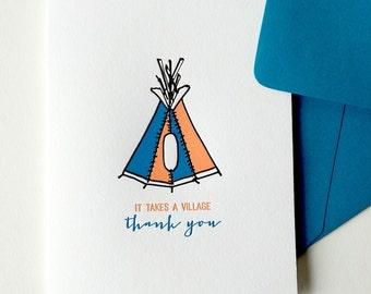 it takes a village | letterpress thank you card