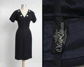 1950s 1960s vintage Oleg Cassini cocktail dress * dark blue crepe * 50s 60s vintage dress * 60s designer