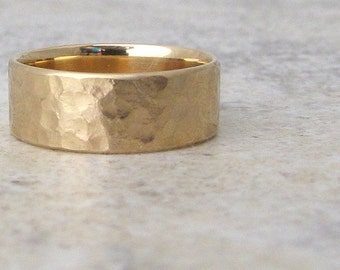 Gold Men's Wedding Band Hammered Wedding Ring Rustic Wedding Bands 14K Gold Unique Wedding Rings Rugged Rough Wedding Ring Gift for Him