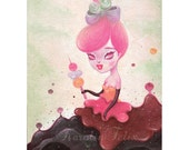 Sweet Fables - 5x7 signed art print - lowbrow pop surreal big eyes art - by KarolinFelix