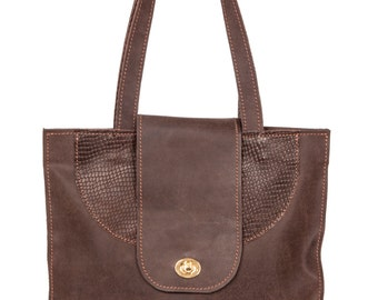 Brown Leather tote, Women Bag ,Shoulder Bag by Ayelet Shachar 100% Leather