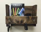 Rustic key holder and mail organizer, reclaimed wood key rack, entryway shelf, wooden key hook, mudroom decor, entryway decor